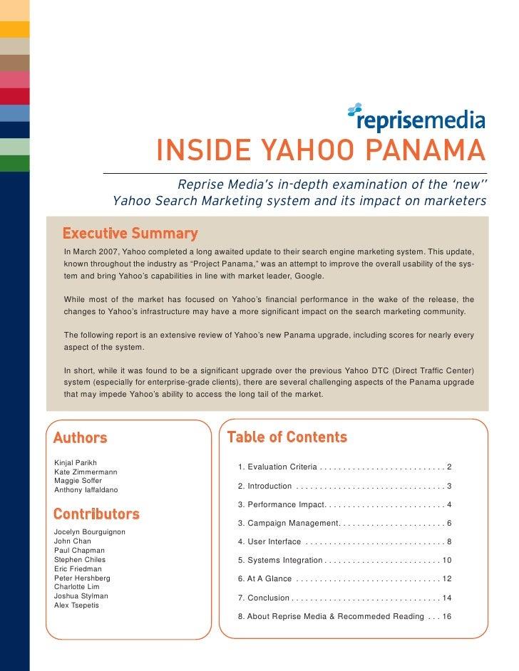 INSIDE YAHOO PANAMA                          Reprise Media's in-depth examination of the 'new''                 Yahoo Sear...