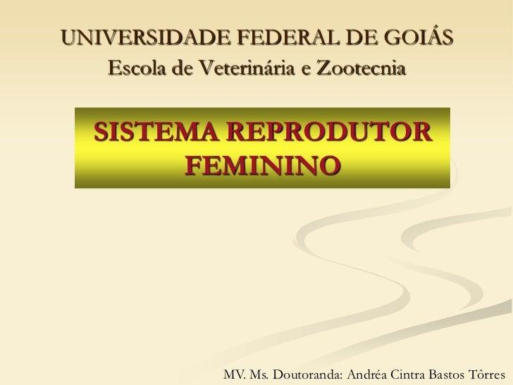 UNIVERSIDADE FEDERAL DE GOIÁS   Escola de Veterinária e Zootecnia   SISTEMA REPRODUTOR        FEMININO              MV. Ms...
