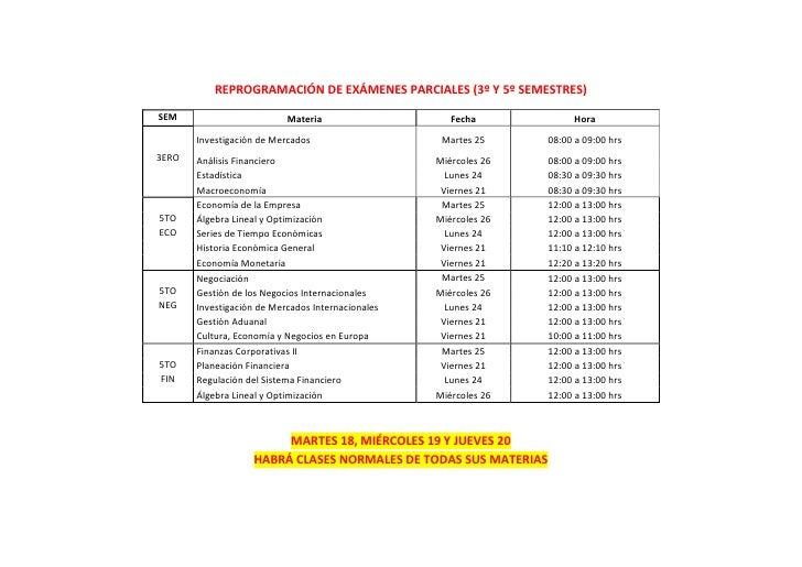 NUEVO CALENDARIO DE EXAMENES 2DA PARCIAL 2011 - 3ERO Y 5TO SEM