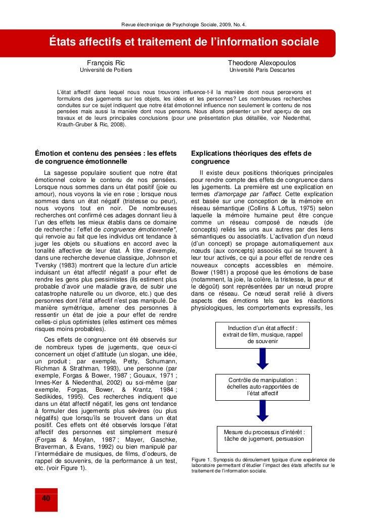 Revue électronique de Psychologie Sociale, 2009, No. 4.     États affectifs et traitement de l'information sociale        ...