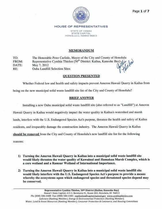 Rep thielen memo to mayor re landfill 5 7 12