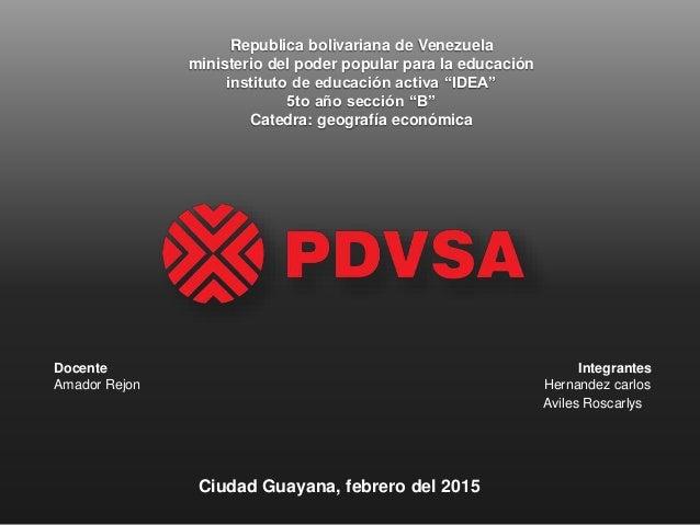 """Republica bolivariana de Venezuela ministerio del poder popular para la educación instituto de educación activa """"IDEA"""" 5to..."""