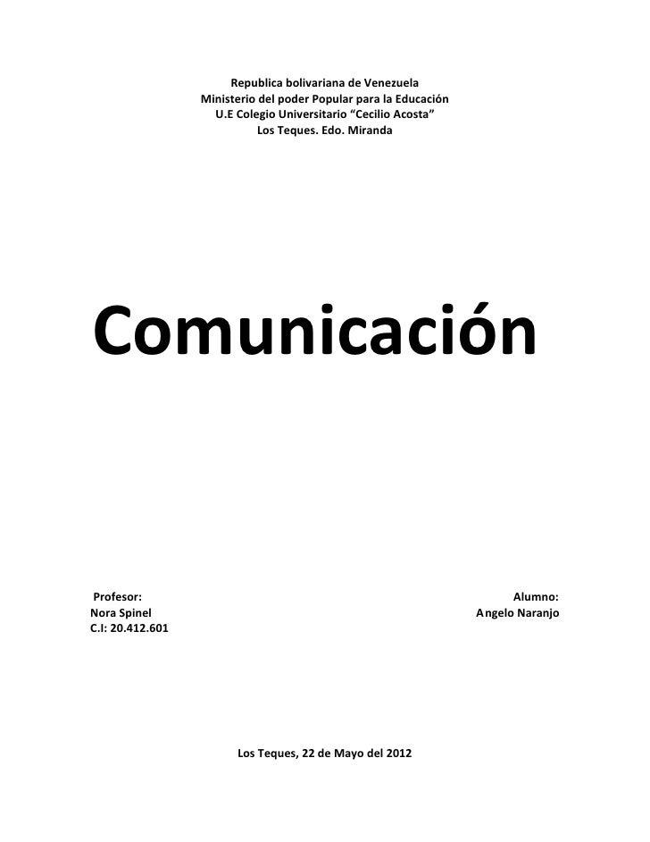 Republica bolivariana de Venezuela                  Ministerio del poder Popular para la Educación                    U.E ...