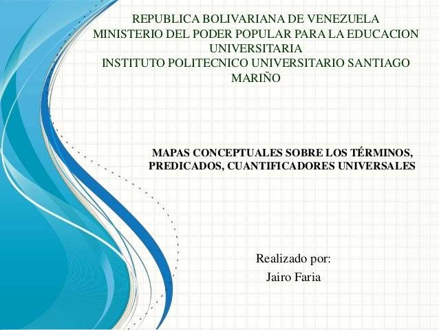 REPUBLICA BOLIVARIANA DE VENEZUELA MINISTERIO DEL PODER POPULAR PARA LA EDUCACION UNIVERSITARIA INSTITUTO POLITECNICO UNIV...