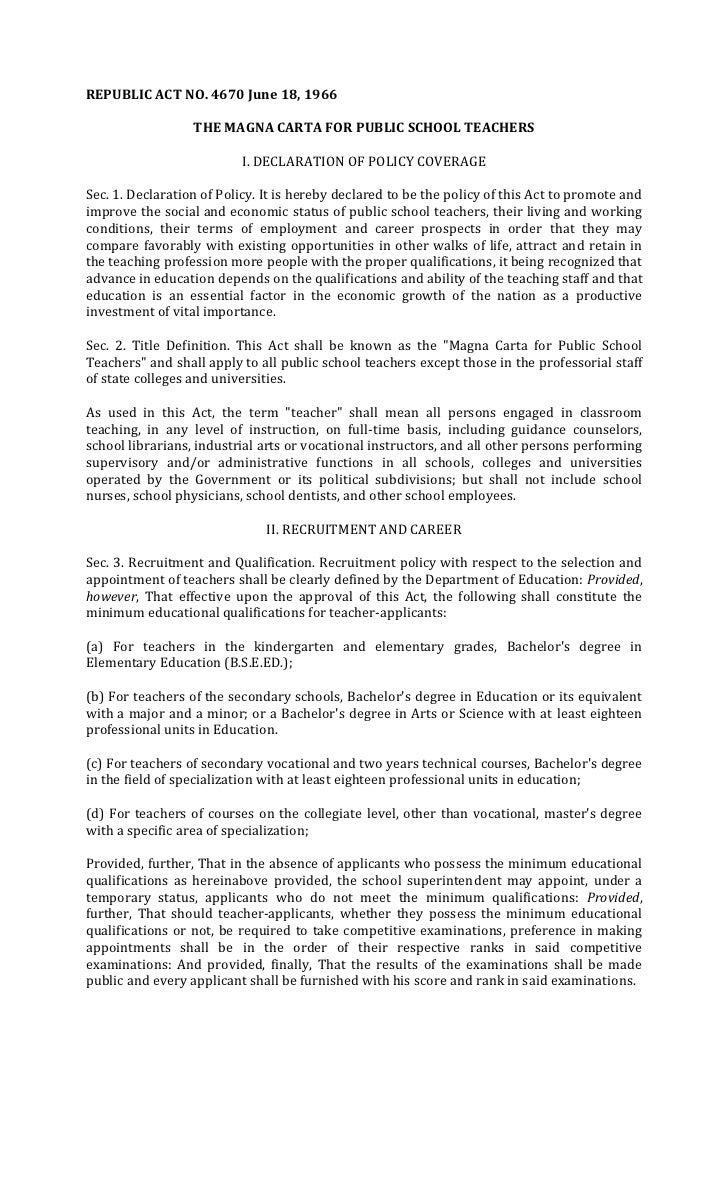 REPUBLIC ACT NO. 4670 June 18, 1966                  THE MAGNA CARTA FOR PUBLIC SCHOOL TEACHERS                          I...
