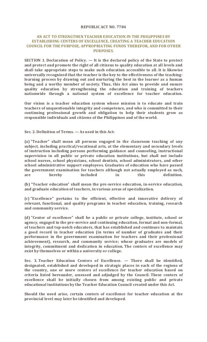 Republic act no. 7784   teacher education
