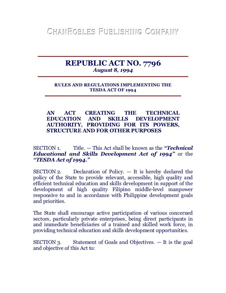 Republic act no. 7796