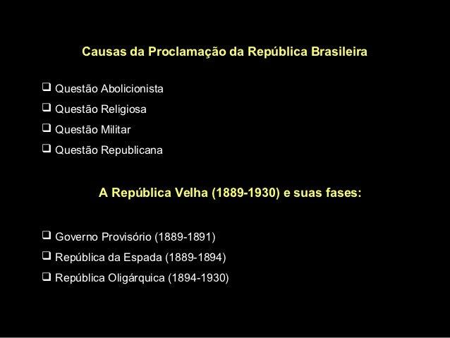 Causas da Proclamação da República Brasileira Questão Abolicionista Questão Religiosa Questão Militar Questão Republic...