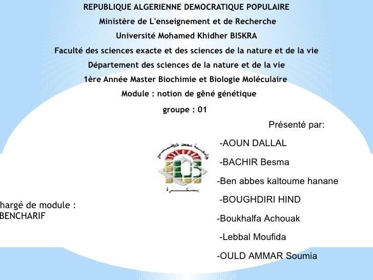 REPUBLIQUE ALGERIENNE DEMOCRATIQUE POPULAIRE                       Ministère de Lenseignement et de Recherche             ...