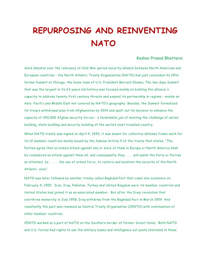 REPURPOSING AND REINVENTING                                            NATO                                               ...