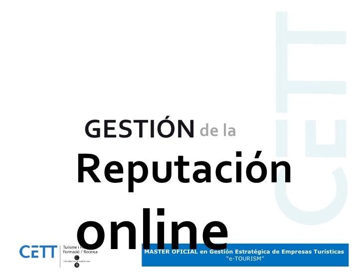 GESTIÓN Reputación online de la