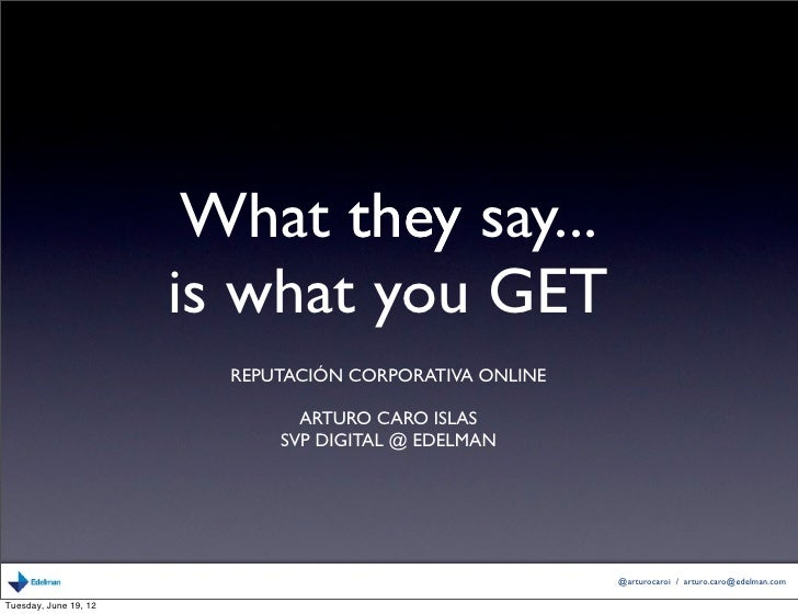 What they say...                       is what you GET                         REPUTACIÓN CORPORATIVA ONLINE              ...
