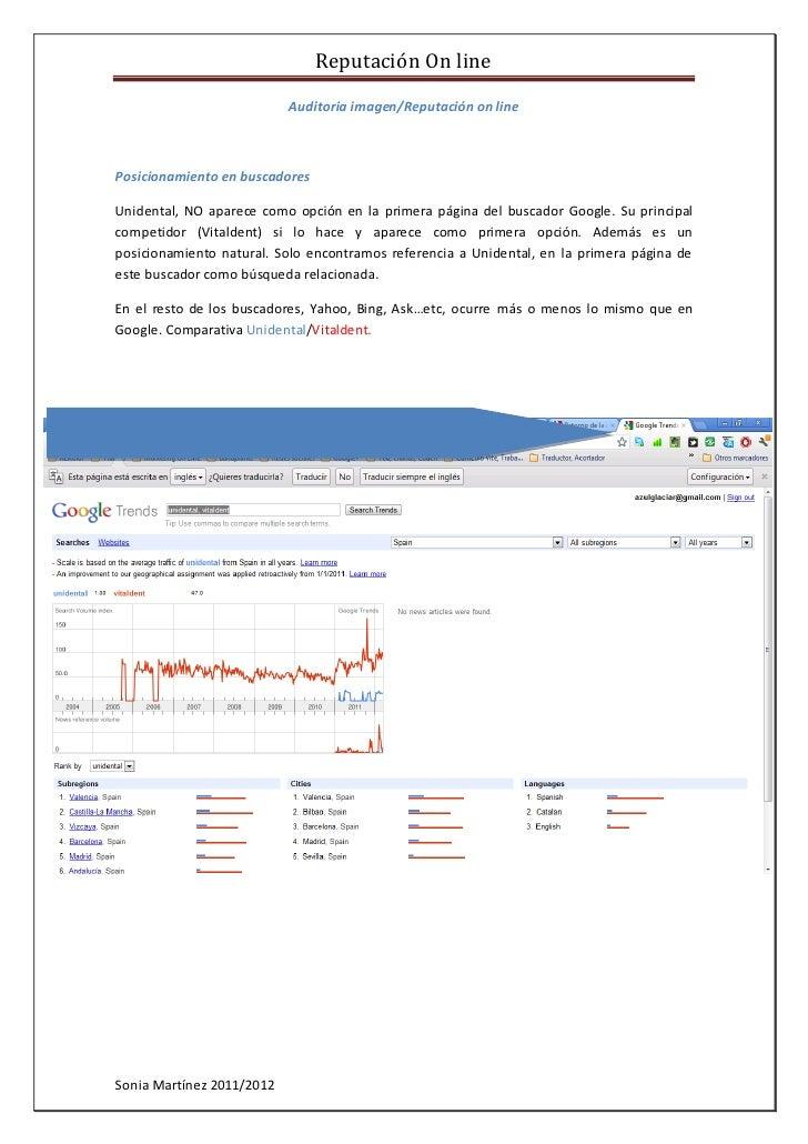 Reputación On line                           Auditoria imagen/Reputación on linePosicionamiento en buscadoresUnidental, NO...