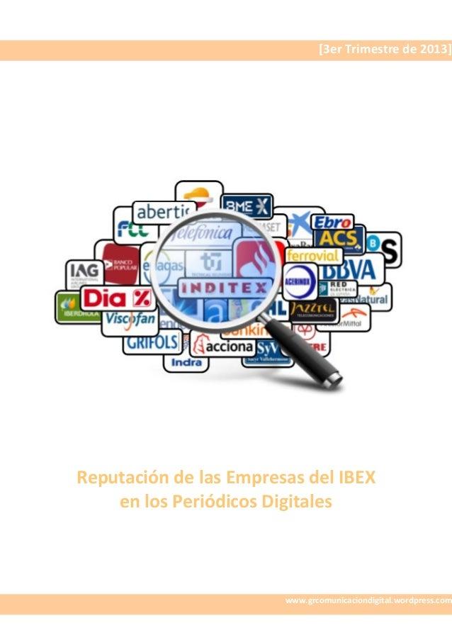 Ebook: Reputación del IBEX en Periódicos Digitales (3T 2013)