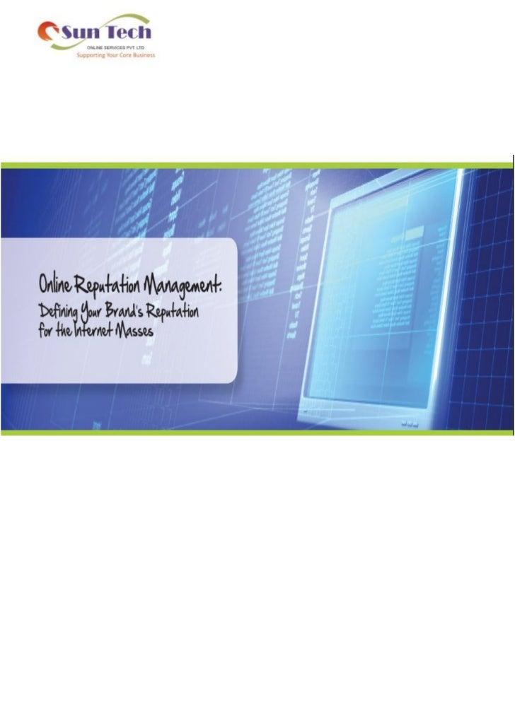Reputation management   suntech online services pvt ltd