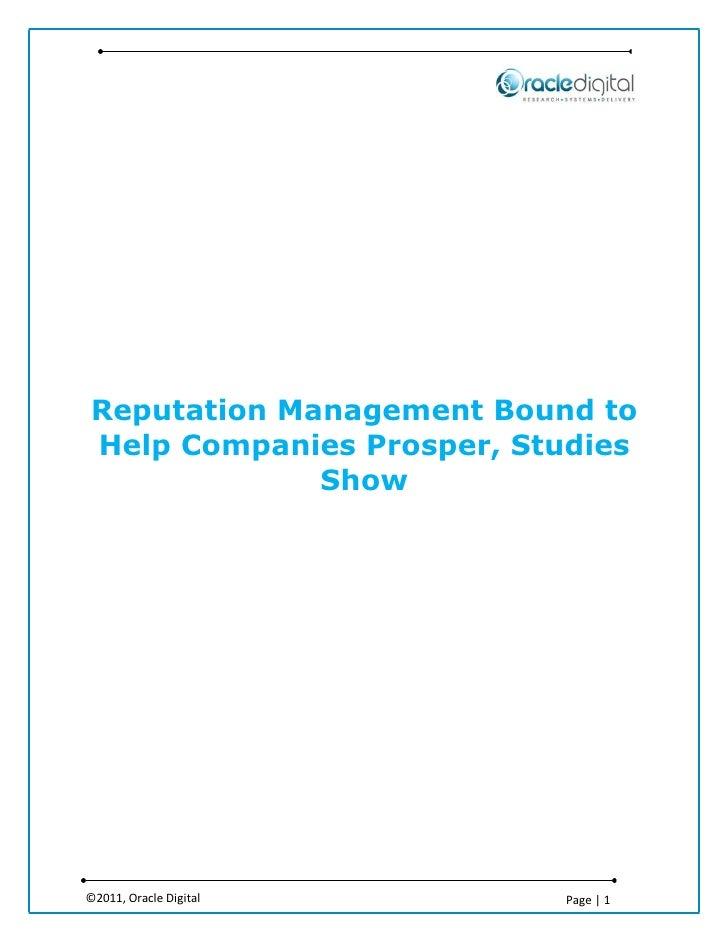Reputation Management Bound to Help Companies Prosper, Studies Show