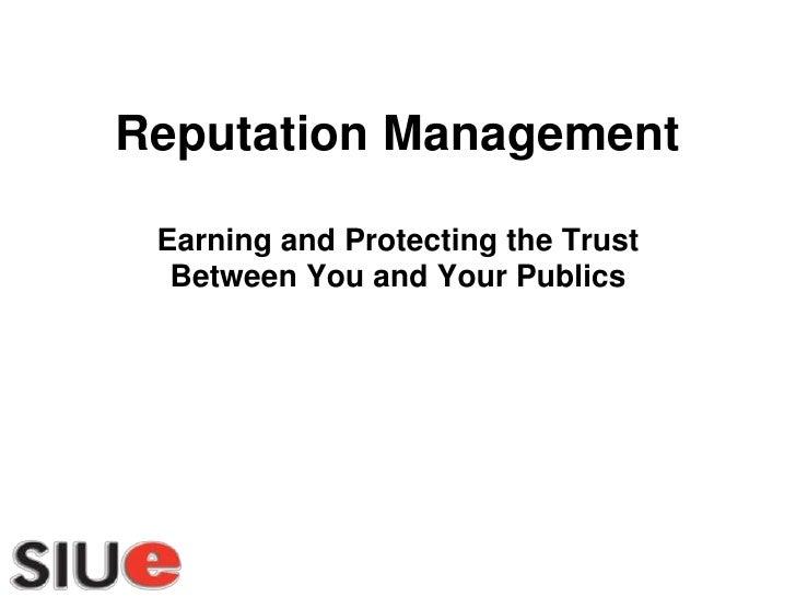 Reputation Management Model Southwestern Illinois Tourism Bureau