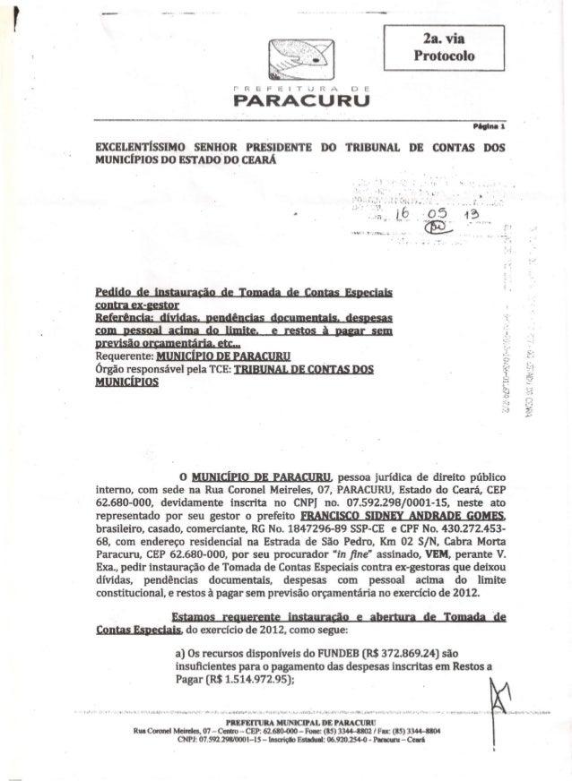 "r 2a. viaProtocoloPREFEITURA D EPARACURUPAgina 1EXCELENTÍSSIMO SENHOR PRESIDENTE DO ""tRIBUNAL DE CONTAS DOSMUNIC(PIOS DO E..."
