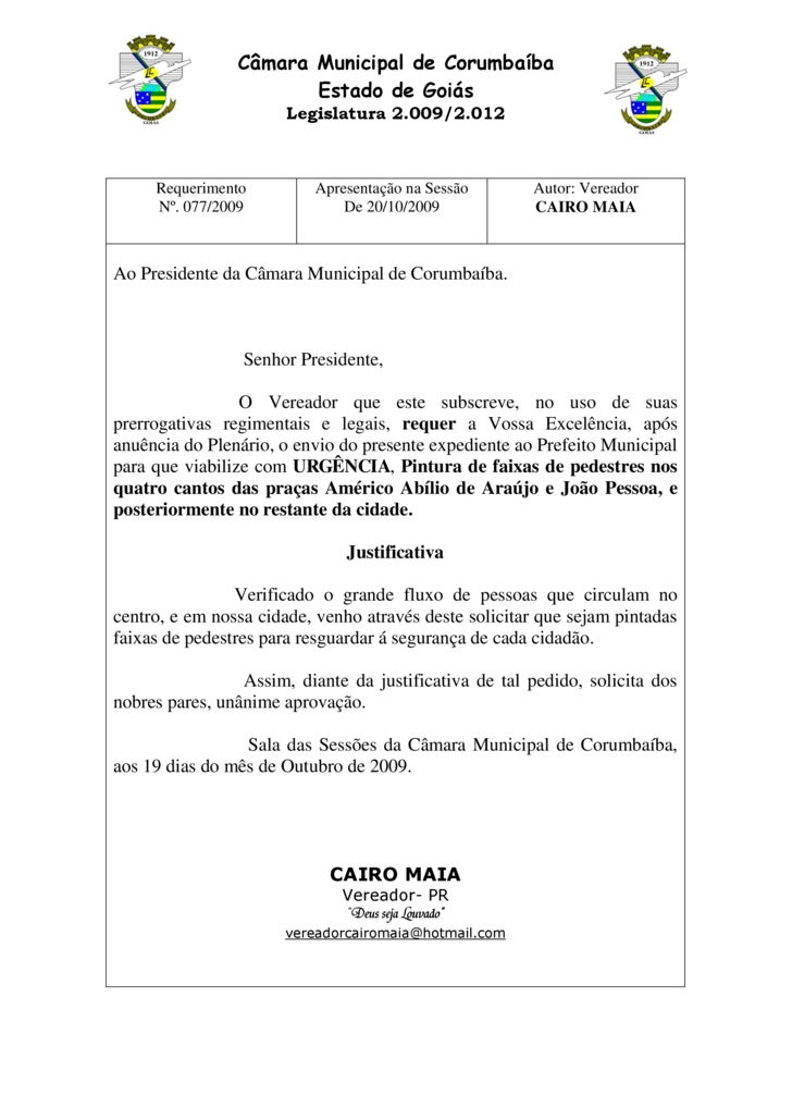 Câmara Municipal de Corumbaíba                        Estado de Goiás                        Legislatura 2.009/2.012      ...
