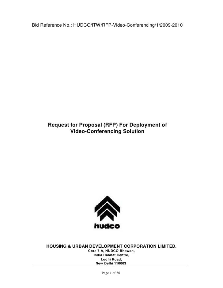 Bid Reference No.: HUDCO/ITW/RFP-Video-Conferencing/1/2009-2010           Request for Proposal (RFP) For Deployment of    ...