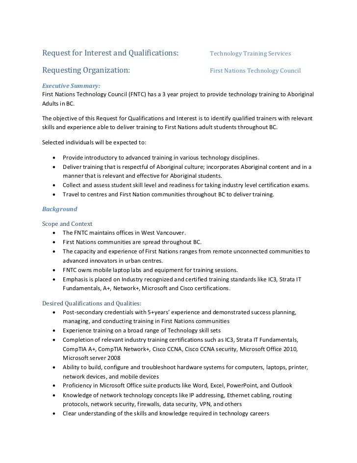 Request for Interest and Qualifications:                           Technology Training ServicesRequesting Organization:   ...