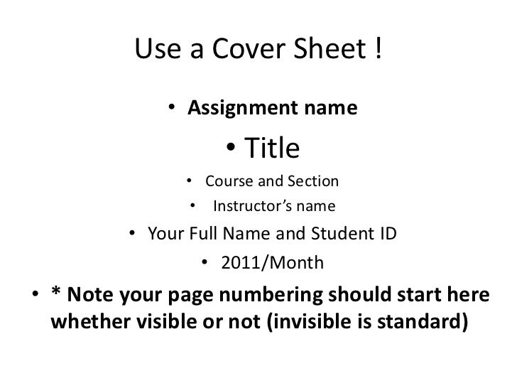 Assignment Page Numbering Your Page Numbering Should