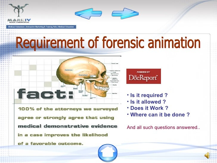 Requirement of forensic animation <ul><li>Is it required ? </li></ul><ul><li>Is it allowed ? </li></ul><ul><li>Does it Wor...