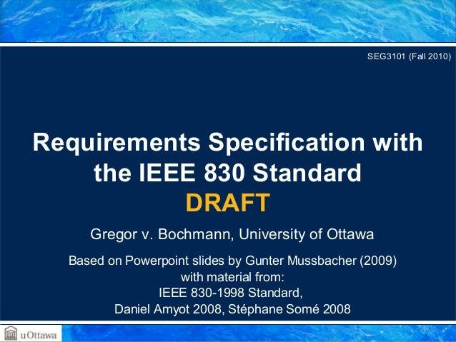 Requirements documentation standards   ieee830