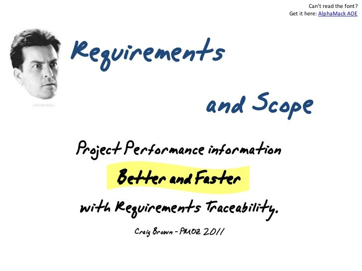 Requirements & scope