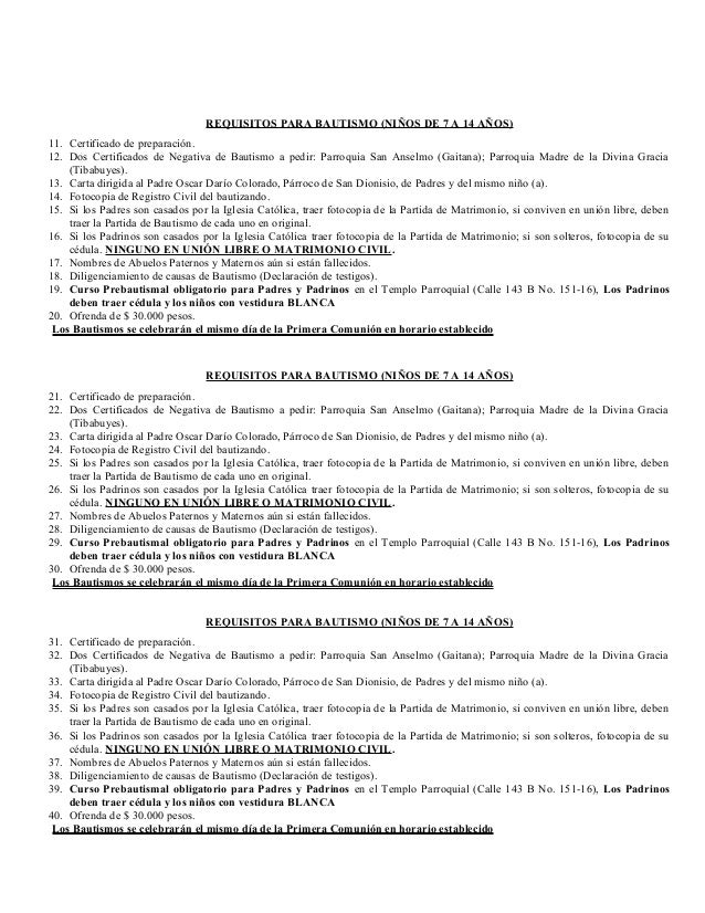 Requisitos Matrimonio Catolico Bogota : Requisitos bautismos