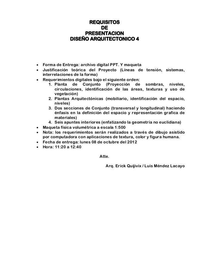 REQUISITOS                           DE                      PRESENTACION                 DISEÑO ARQUITECTONICO 4   Forma...