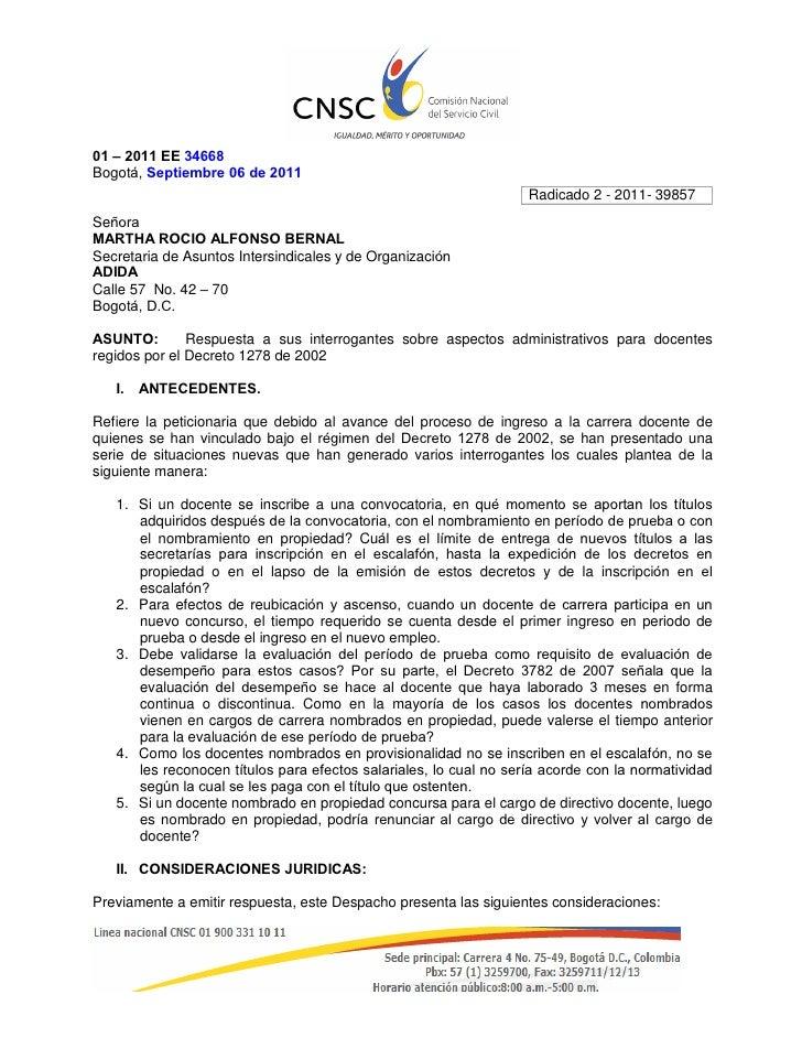 01 – 2011 EE 34668Bogotá, Septiembre 06 de 2011                                                                   Radicado...