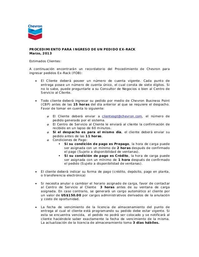 PROCEDIMIENTO PARA INGRESO DE UN PEDIDO EX-RACKMarzo, 2013Estimados Clientes:A continuación encontrarán un recordatorio de...