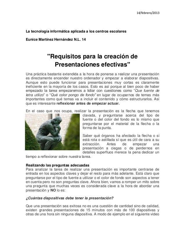 """14/febrero/2013La tecnología informática aplicada a los centros escolaresEunice Martínez Hernández N.L. 14             """"Re..."""