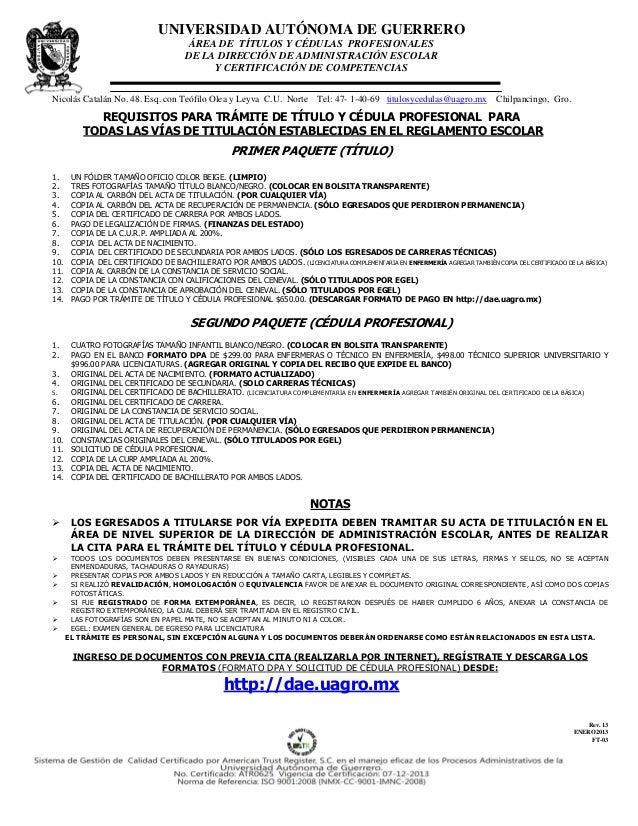 UNIVERSIDAD AUTÓNOMA DE GUERRERO                                       ÁREA DE TÍTULOS Y CÉDULAS PROFESIONALES            ...