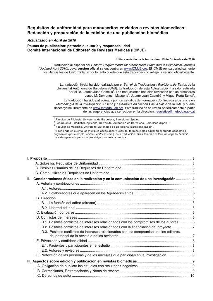 Requisitos de uniformidad para manuscritos enviados a revistas biomédicas:Redacción y preparación de la edición de una pub...