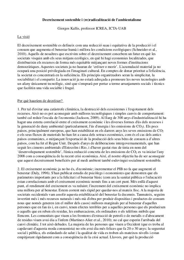 Decreixement sostenible i (re)radicalització de lambientalisme                           Giorgos Kallis, professor ICREA, ...