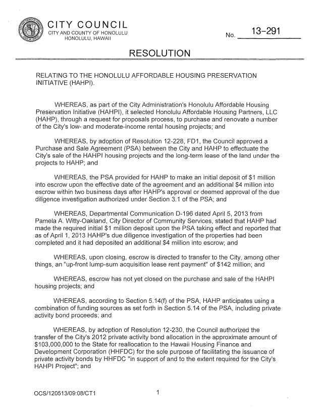 CITY COUNCIL  No  CITYANDCOUNTYOFHONOLULU HONOLULU, HAWAII  13—291  RESOLUTION RELATING TO THE HONOLULU AFFORDABLE HOUSING...