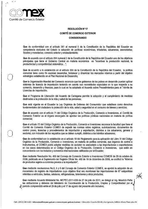 Resolución 17 COMEX - Nomina de productos sujetos a controles previos a la importación