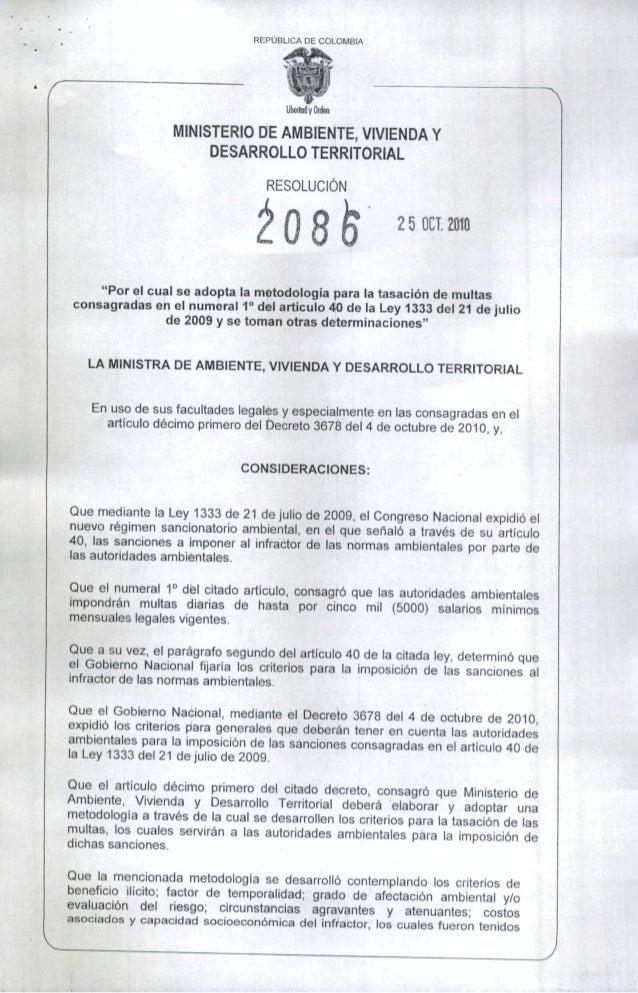 Res 2086 25 oct  2010 criterios sanciones ambientales
