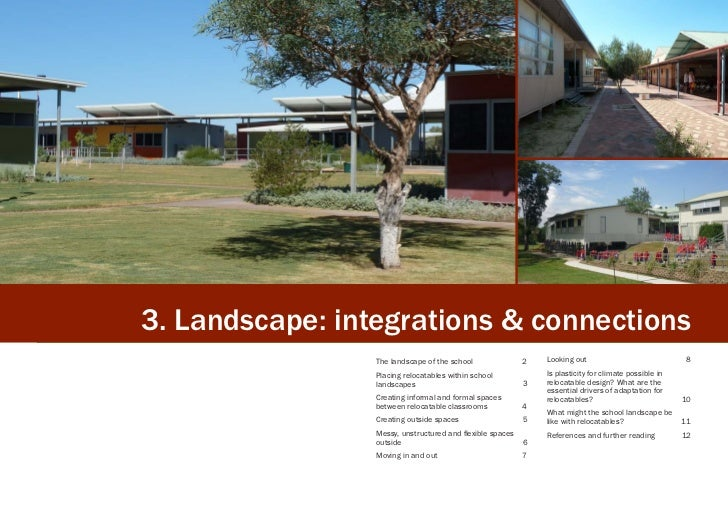 3. Landscape: integrations & connections                 The landscape of the school               2   Looking out        ...