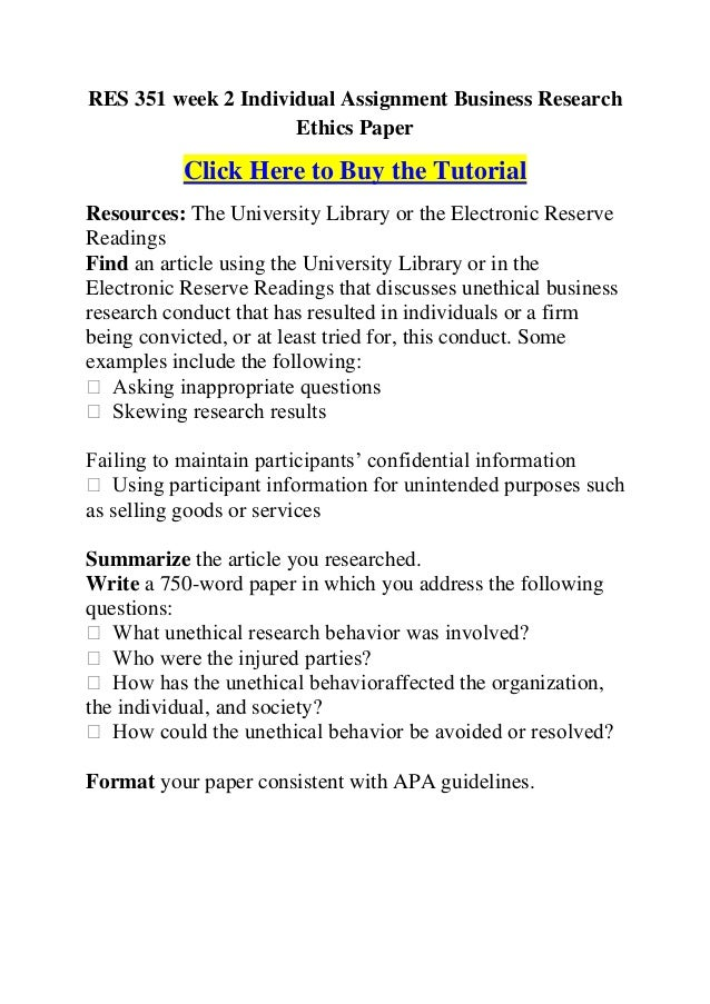 Research paper about business