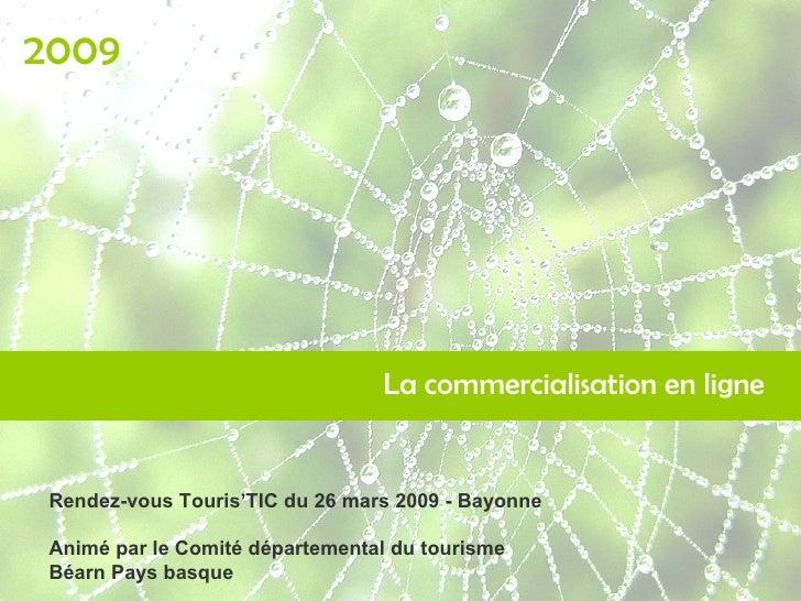 La commercialisation en ligne 2009 Rendez-vous Touris'TIC du 26 mars 2009 - Bayonne Animé par le Comité départemental du t...