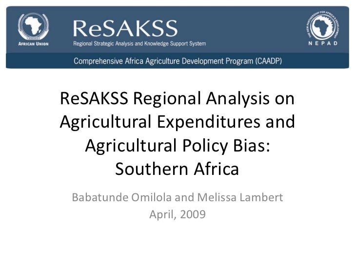 ReSAKSS Regional Analysis onAgricultural Expenditures and   Agricultural Policy Bias:       Southern Africa Babatunde Omil...