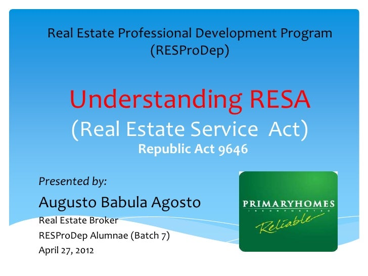 Real Estate Professional Development Program                  (RESProDep)      Understanding RESA      (Real Estate Servic...