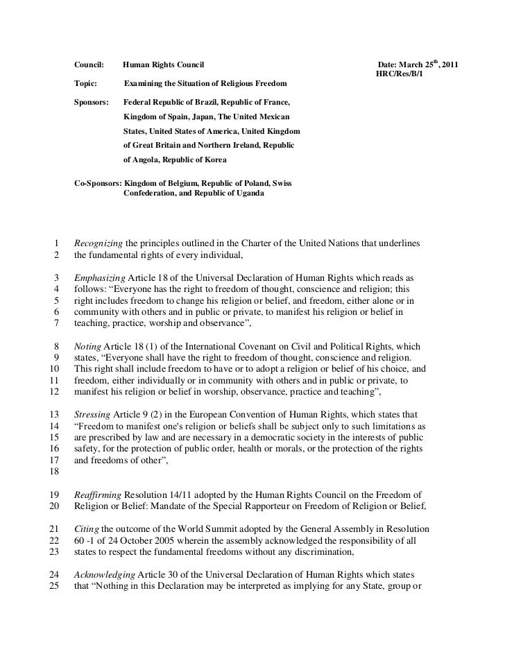 Council:     Human Rights Council                                              Date: March 25th, 2011                     ...