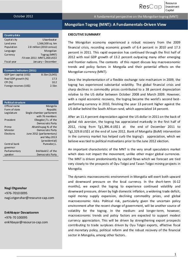 ResCap Nov October 2012 30, 2010 November 30, 2010  Resource Investment Capital  Equity Research   Mongolia A fundamental ...