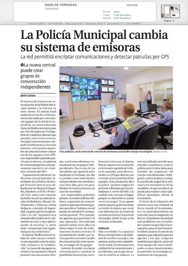 La Policia Municipal de Terrassa canvia el seu sistema d'emissores