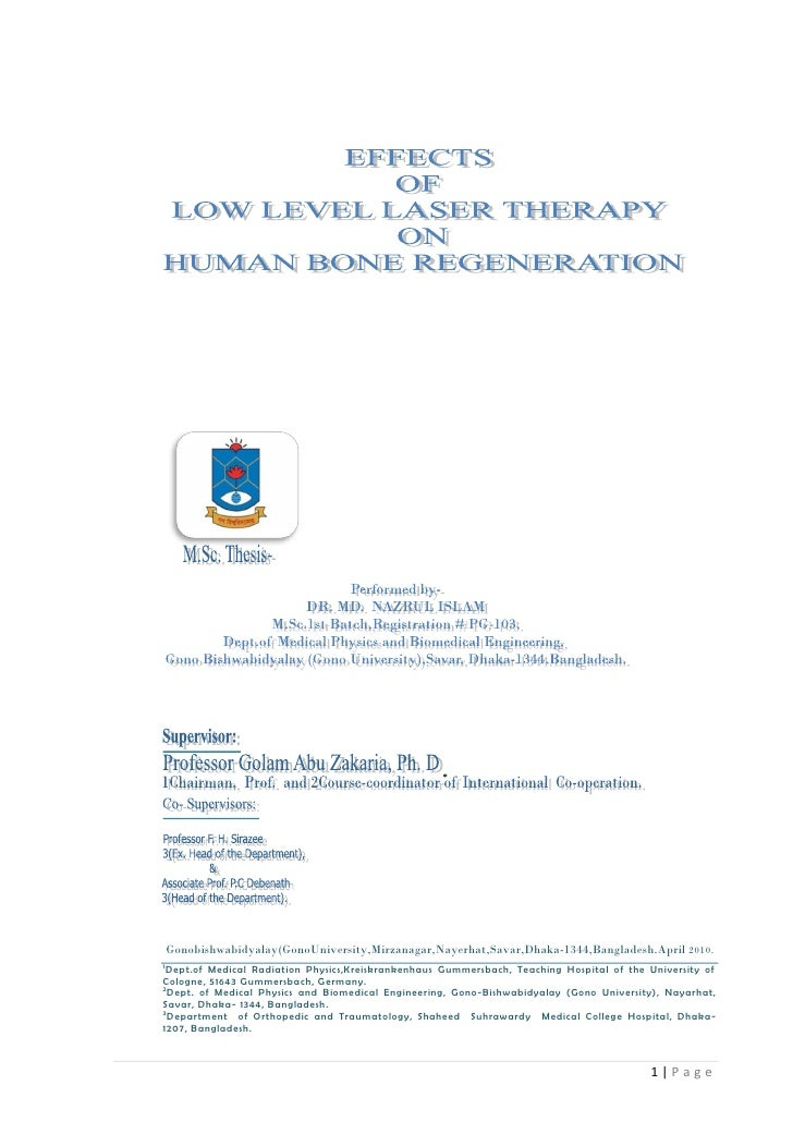 M.Sc. THESIS (Biomedical Engineering) : EFFECTS OF LOW LEVEL LASER THERAPY ON HUMAN BONE REGENERATION