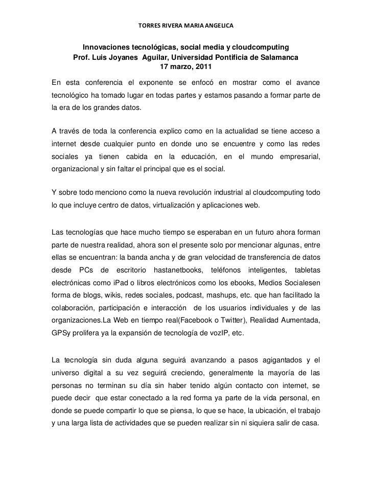 Innovaciones tecnológicas, social media y cloud computing<br />Prof. Luis Joyanes  Aguilar, Universidad Pontificia de Sala...